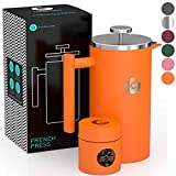Coffee Gator French Press Coffee Maker - Thermal Insulated Brewer Plus Travel Jar - Large Capacity, Double Wall Stainless Steel - 34oz - Orange