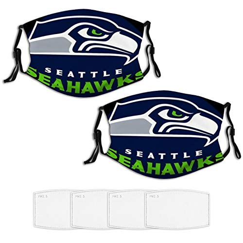 Seat_t-le sea-Hawks, Face mask Cool Washable Masks Mouth Covers for Cycling Travel Carbon Filter 2 pcs