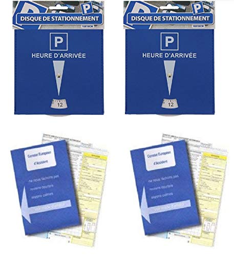KIT AUTO : Lot de 2 Disques de stationnement de qualité (Plastique) et 2 Constats amiables d'accidents Automobile et Moto - Lot de 2 Ideal en Cas d'erreur - Agréés Toutes assurances France et Europe