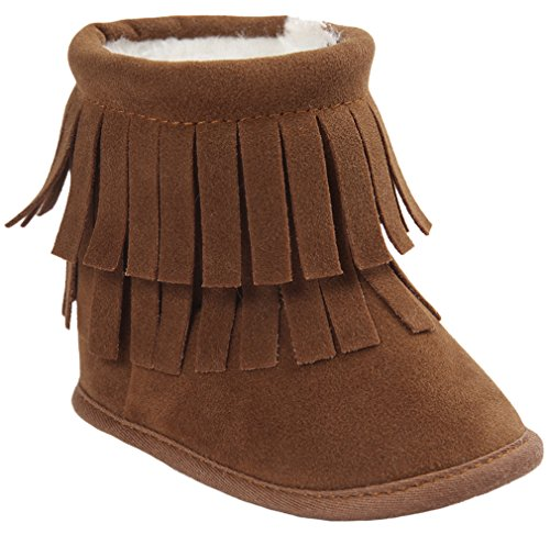 Vanbuy Baby Double Fringe Leather Boots Infant Toddler Snow Boots Moccasin Boots WB35-Dark Brown-L