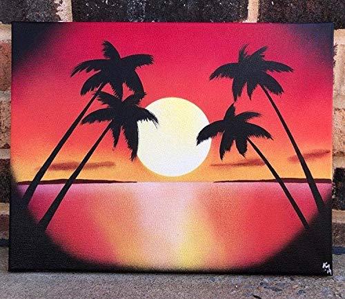 Ced454sy Zonsondergang Schilderij Zonsondergang Muur Kunst Spray Verf Art Beach Art Strand Zonsondergang Palm Bomen Zonsondergang Decor Zonsondergang Decor Nautical