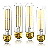T10 LED Tubular Light Bulbs,Warm White 2700K,6W Dimmable Tube Vintage Led Filament Bulbs 60 Watt Equivalent,E26 Medium Base,LED Edison Bulb for Desk Lamp,Pendant Lights,4-Pack …