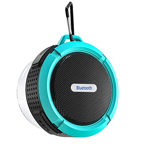 Bluetooth Shower Speaker, Waterproof Bluetooth Speaker with 6H Playtime, Loud HD Sound, Portable Outdoor Speaker, Bathroom Speaker with Suction Cup & Sturdy Hook for Pool Beach Home Party Travel,Blue