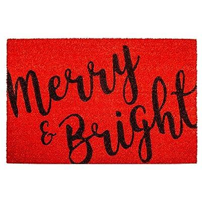 "Calloway Mills 104971729 Merry & Bright Doormat, 17"" x 29"", Red/Black"