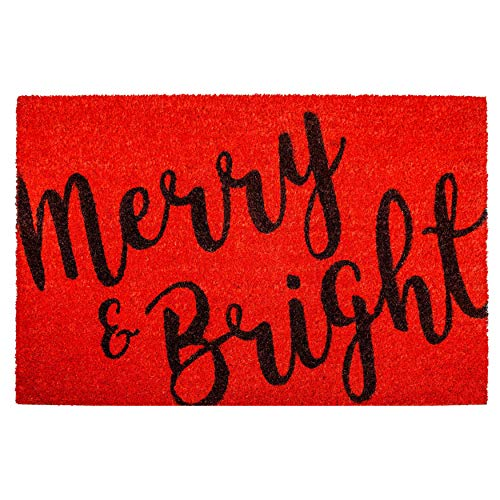 "Calloway Mills 104971729 Merry & Bright Doormat, 17"" x 29"", Red/Black"