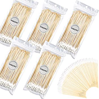 PINGMIC 6   Long Cotton Swabs 500PCS - Cotton Swabs Long Wooden Sticks Gun Cleaning Swabs - Wooden Stick Cotton Swabs Long Handle for Pet Care Jewelry Ceramics Electronics Cleaning