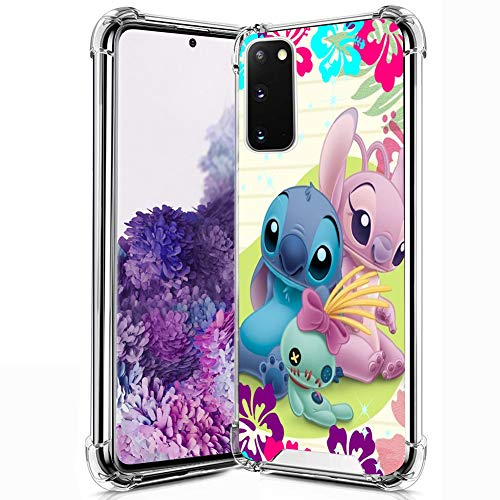 DISNEY COLLECTION Samsung Galaxy S20 Clear Case, Lilo Stitch Angel Pattern Soft TPU Bumper with Hard PC Cover Shock-Proof Anti-Scratch Protective Transparent Case for Samsung Galaxy S20.