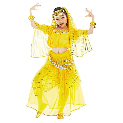 BOZEVON Niños Niñas Trajes de Brillantes Danza del Vientre Niños Egipto Indio Bailando Trajes, Cadena de Cabeza + Velo + Tops + Falda + Cadena de Cintura (Amarillo,EU M = Tag L)