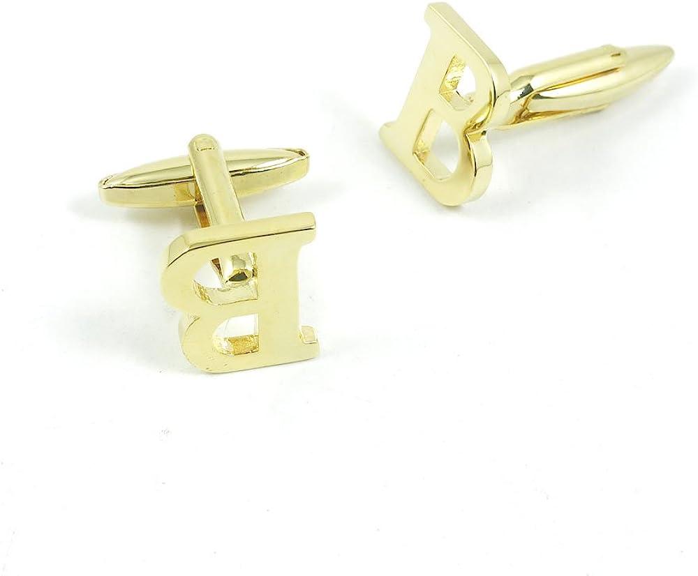 Cufflinks Cuff Links Fashion Mens Boys Jewelry Wedding Party Favors Gift 152LN0 Golden Letter B