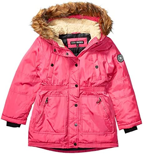 Steve Madden Girls Girls Big Outerwear Jacket More Styles Available Long Barbie Pink 14//16