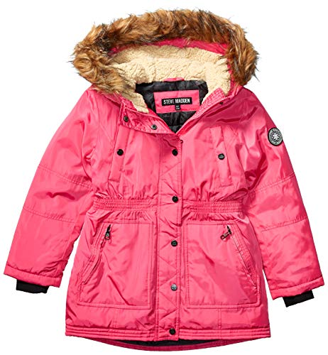 Steve Madden Girls Girls' Little Long Outerwear Jacket (More Styles Available), Signature Barbie Pink, 6X