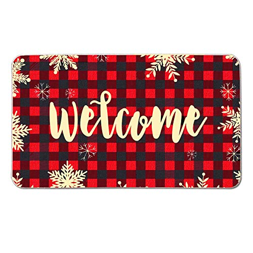 Gz party Red and Black Checks Winter Snowflake Doormat 18 x 30 Inch,New Year Christmas Indoor Outdoor Home Garden Non-Skid Floor Mat,Winter Holidays Welcome Sign