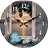 XYQY Reloj de diseño de Escena Nocturna Vintage Reloj de Sala de Estar Cocina Baño Decoración para el hogar Arte de Pared Reloj de Pared Grande Sin Sonido de tictac 15 cm (6 Pulgadas) Azul