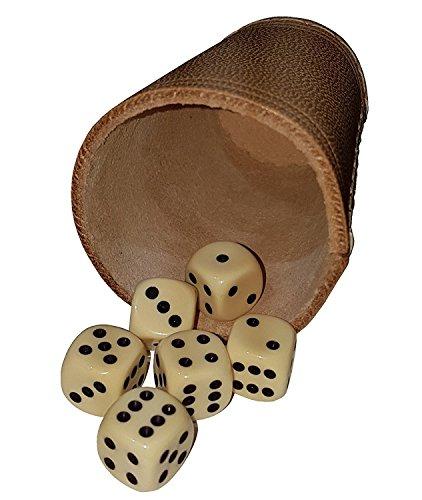 KSS Qualitäts Würfelbecher Lederwürfelbecher besonders Dickes Leder ! Ca 4-5 mm stark ! in Standartgröße + 6 Würfel !