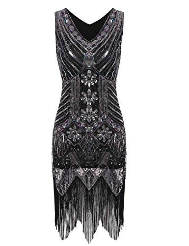 Swiftt Damen Vintage Abendkleid 1921er Gatsby Elegantes Cocktailkleid Partykleid Festlich Knielang...