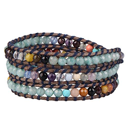 KELITCH Leder Armbänder Zum Damen Männer Grün Amazonit Mischen Bunt Achat Stein Kristall Perle 3 Wickeln Armband Personalisiert