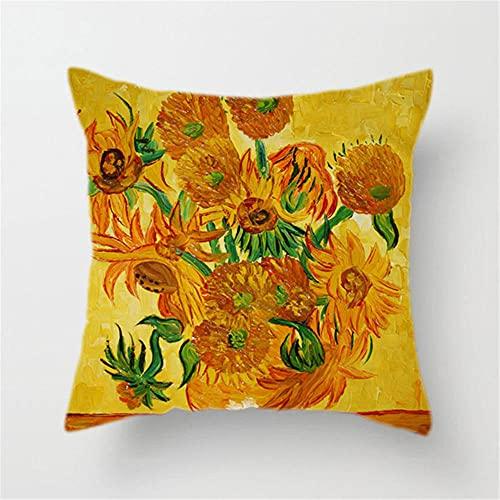 Capas almofadas 1 unidade Van Gogh Pintura a óleo Quadrada Fronha decorativa de linho algodão Travesseiro de duas faces oculto conjuntos capa almofada para sofá e sofá-cama,18x18 polegadas/45x45cm-1