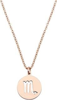 KUIYAI Zodiac Pendant Necklace Rose Gold Disc Horoscope Necklace Birthday Gift