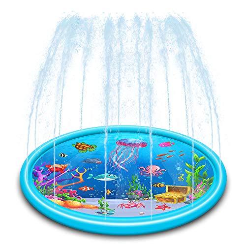 JW-YZWJ Agua Splash Pad para niños, 170cm Modelo Grande Medusas Spray Pad, Apto para 2-3 Personas