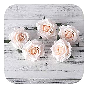 Fostudork Artificial Flower Bouquets Wedding, 5pcs Roses White Silk Fake Faux Heads DIY Wedding Home Decoration Scrapbook Accessories,Champagne