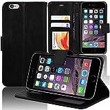COPHONE® Funda de Cuero Negro iPhone 6 Plus. Funda Protectora Funda Monedero Negro iPhone 6 Plus. Carcasa Magnético iPhone 6 Plus
