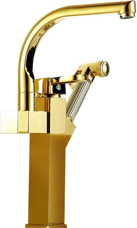 Waschtischmischer Goldene Waschbecken Wasserhahn Hot And Cold Pull Typ Teleskop Kupfer Hauptbecken Wasserhahn Spritzpistole Duschkopf