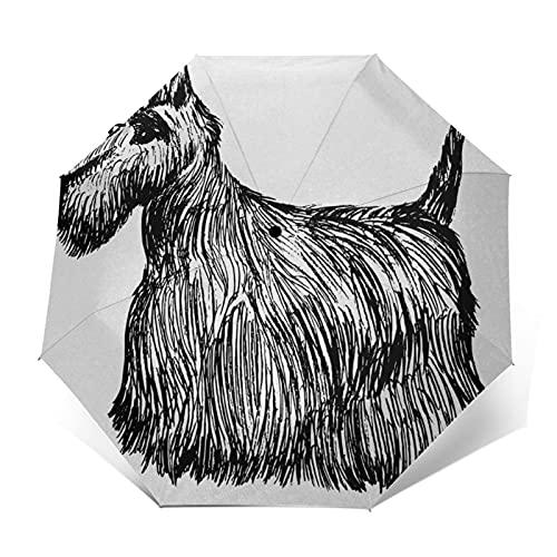 Paraguas Plegable Automático Impermeable Perro 498, Paraguas De Viaje Compacto A Prueba De Viento, Folding Umbrella, Dosel Reforzado, Mango Ergonómico