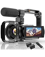 4K Camcorder HD Digitale Video Camera voor Youtube WiFi Vlogging Camera, IR Night 48MP 16X Digitale Zoom 3.0 Inch 270 ° Draaibare Touchscreen Camera Recorder met Microfoon Afstandsbediening
