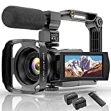 Videokamera 4K WiFi Full Hd Video Camcorder mit Mikrofon YouTube Vlogging Digitalkamera,IR Nacht 48MP16X Digital Zoom 3,0 Zoll 270 ° Drehbarer Touchscreen Kamerarecorder mit Fernbedienung