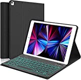 SENGBIRCH iPad Smart Keyboard Case for iPad 10.2 inch 8th /7th Generation and Air 3/Pro 10.5,7 Colors Backlight, Magnetically Detachable Wireless Bluetooth Keyboard with Folio Cover New Black