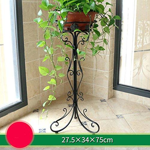 balcon voyantes Support de fleur d'intérieur de fer forgé, support de fleur de balcon, support de pot de fleur décoratif de plancher de salon, étagère Plantes d'extérieur Présentoir ( Couleur : Noir )