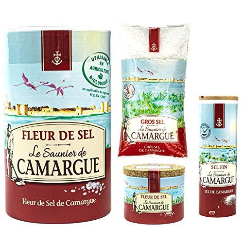 Le Saunier de Camargue - 4er Salz Set aus Frankreich: 1x Fleur de Sel 1 kg, 1x Grobes Meersalz Gros Sel 1 kg, 1x Fleur de Sel 125 g, 1 x Sel Fin gemahlen 250 g - Premium Meersalz aus Südfrankreich