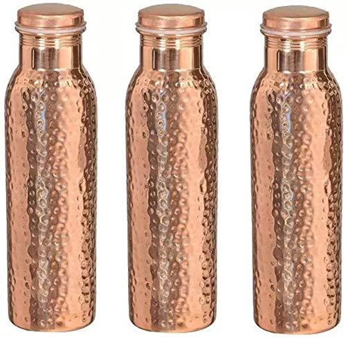 Traveller's 100% Pure - Botella de Agua de Cobre para Beneficios de Salud ayurvédica | Joint Free, Leak Proof - Elegante Botella de Jarra de Agua Set DE 3 Piezas