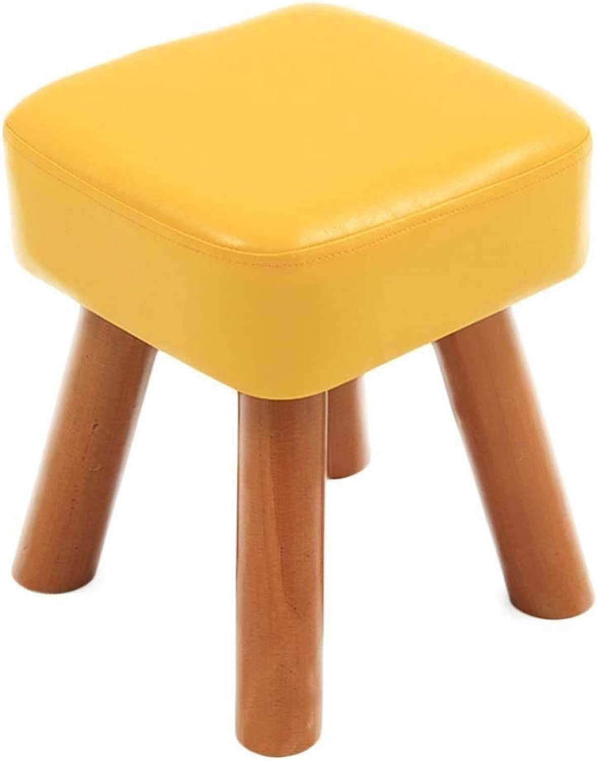 Leather Stool, Small Sofa Footstool, Change shoes Bench Solid Wood Living Room (color   Yellow, Size   28cm28cm32cm)
