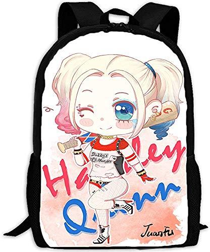 Harley Quinn Mochila escolar para niños, tiempo libre, mochila escolar, ergonómica, impresión 3D, animación de dibujos animados (1,16 pulgadas)