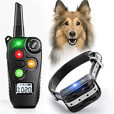 rabbitgoo Dog Training Collar, Dog Shock Collar with 1000Ft Remote, 3 Modes Beep/Vibration/Static, Rechargeable Waterproof Electric Collar Trainer, Adjustable 1-100 Levels for Large Medium Small Dogs