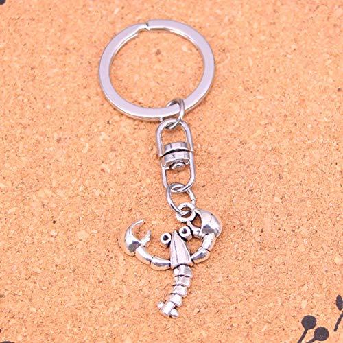JJCDKL Modeschmuck Accessoires Silber Anhänger Hummer Krustentier Schlüsselbund Schlüsselanhänger für Frauen Männer Geschenke Schlüsselanhänger