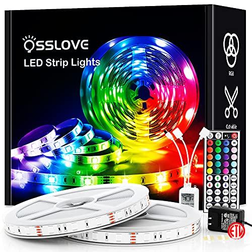32.8ft Led Strip Lights, OSSLOVE RGB Color Changing LED Lights for Bedroom, Home Decoration, with IR Remote Control, DIY Mode, 5050 LEDs, 12V ETL Listed Adapter(2 Rolls of 16.4ft)