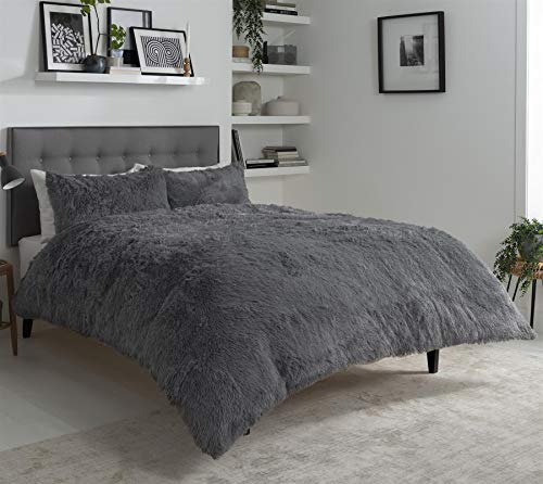 Olivia Rocco Snuggle Duvet Cover Set Super Soft Fluffy Quilt Sets Warm Cosy Winter Bedding, Single Charcoal