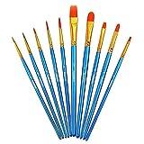Yyooo - Juego de brochas de pintura profesional para el pelo de nailon y acrílico para pintura de acuarela al óleo