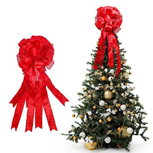 Topper Albero di Natale - 86 x 33cm, Fiocco Albero di Natale Rosso con Bordo Filettato - Puntale Fiocco Albero Natale con Glitter per Decorazioni Albero di Natale - Fiocchi Albero di Natale