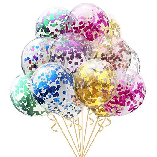LIK 16 globos de confeti de látex, globos de fiesta, globos de cumpleaños para bodas, Navidad, baby shower, decoración de fiestas, globos multicolor de 12 pulgadas