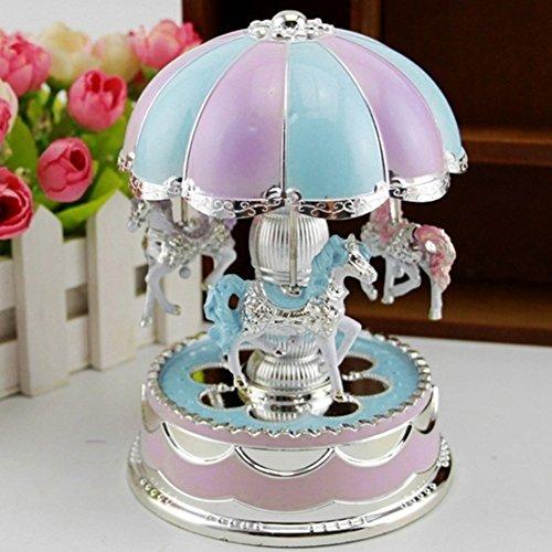 GCDN Carrusel Music Box Caja de música giratoria de 3 Caballos con Cambio de Color LED Luz Luminosa para Fiesta de cumpleaños