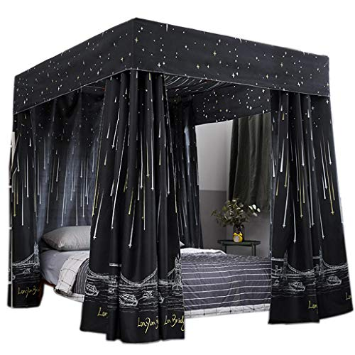 Obokidly Princess 4 Corner Post Bed Curtain Canopy;Windproof Lightproof Bed Canopy Mosquito Net Bedroom Decoration for Adults Girls Bed Canopies Child Gift (Black, Queen)