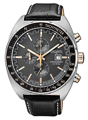 Orologio cronografo Vagary in acciaio e pelle collezione Rockwell