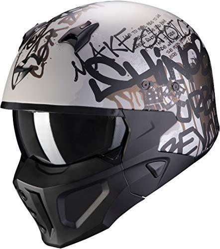 Scorpion Motorradhelm COGrun-X WALL Matt Silver-Black, Schwarz/Grau, L