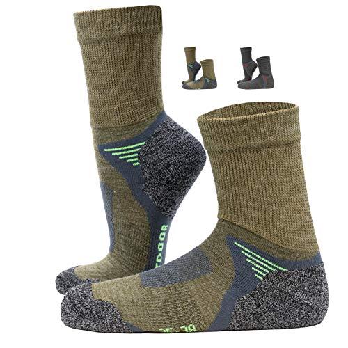 NewwerX 3 Paar Trekkingsocken, Wandersocken mit Merinowolle, Outdoor Funktions und Trekking Socken leicht und atmungsaktiv, hält die Füße warm und trocken (Olive / Grün, 43-46)