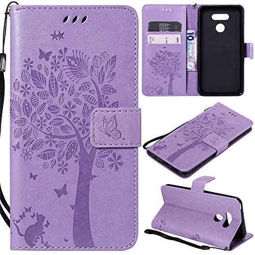 MEUPZZK LG G6 Case, LG G6 Wallet Case, Flower Tree & Cat Embossed Flip Premium Leather Kickstand with Card Holders, Magnetic Closure, Wristlet, Protective Cover for LG G6 2017 (S-Lavender)