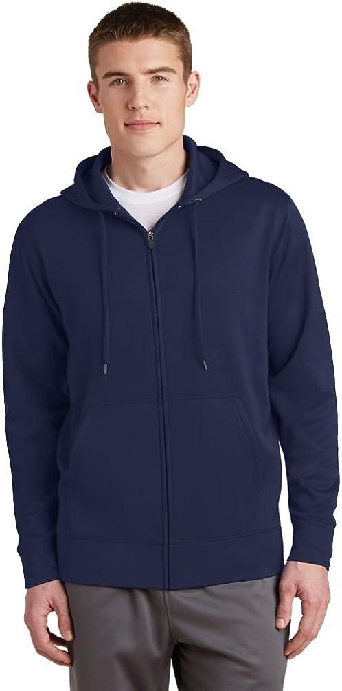 Sport-Tek Mens Sport-Wick Fleece Full-Zip Hooded Jacket (ST238) -NAVY -L