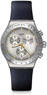 Swatch Mens Chronograph Quartz Watch with Leather Strap YVS460